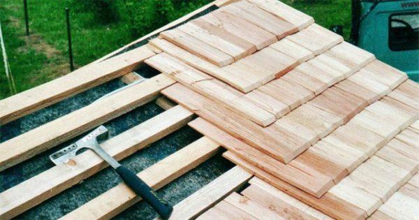 монтаж деревянной дранки