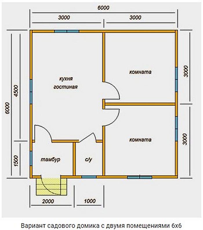 Проект дома 6х6 с двумя помещениями