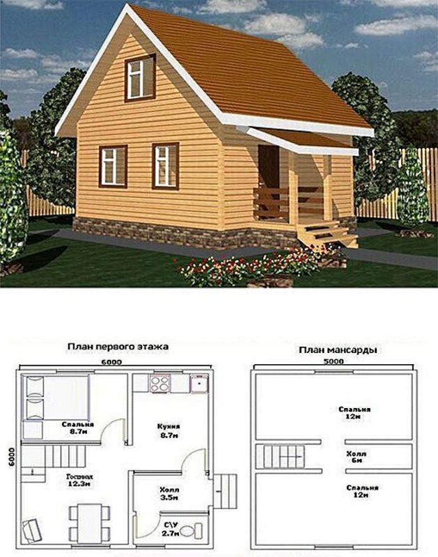 садовый дом с мансардой