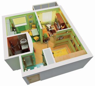 проект перепланировки однокомнатной квартиры в двухкомнатную 29 кв.м.