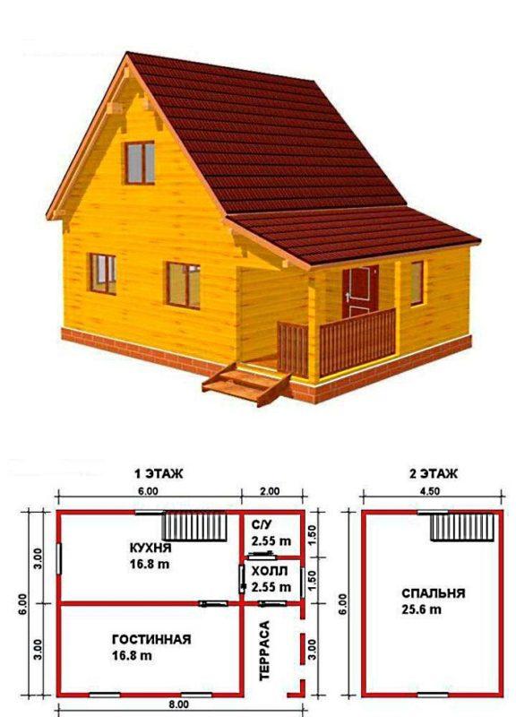 садовый домик с двумя этажами