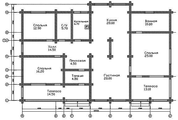 Чертеж схема одноэтажного дома все нереально!!!!