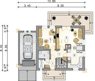 проект дома с гаражом и совмещенной гостиной