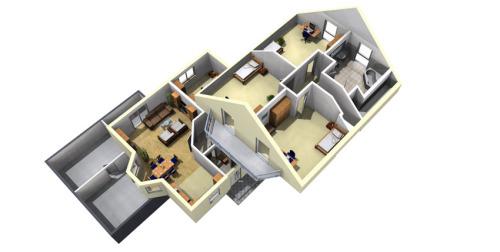 3d план дома с эркером и балконом