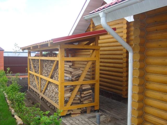 односкатная крыша на дровнице