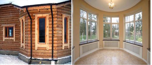 деревянный дом с круглым эркером