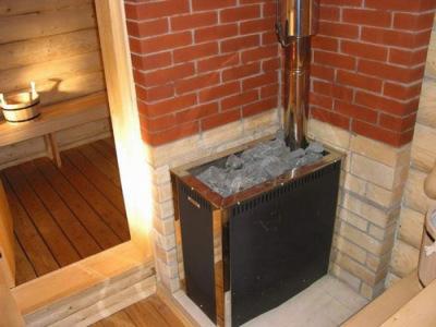 баня с установленной печкой