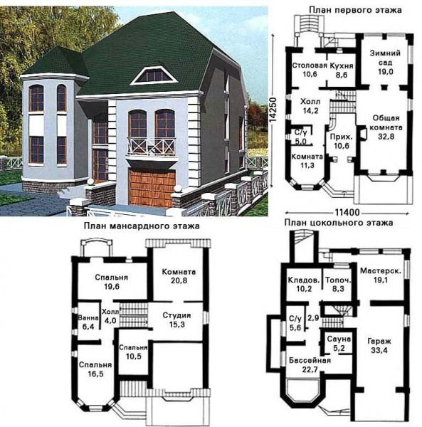 планировка дома с эркером
