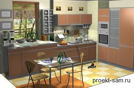 3d проект кухни в программе Kitchen Draw