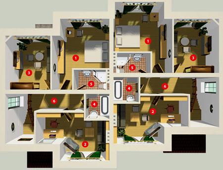 3D планировка квадрохауса
