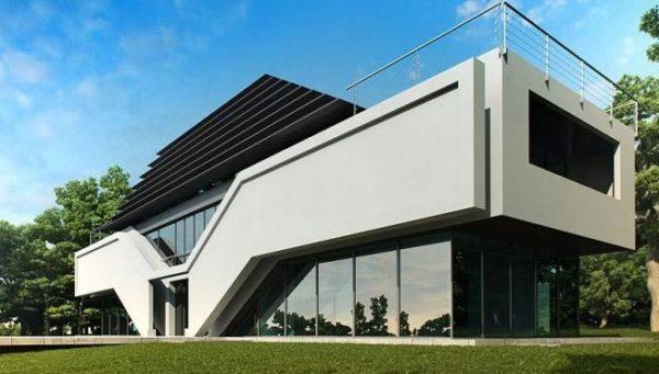 дом из стекла и бетона