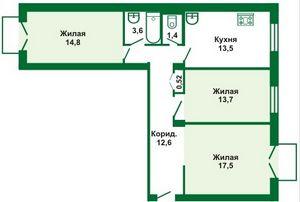 планировка трехкомнатной сталинки в 6-этажном доме