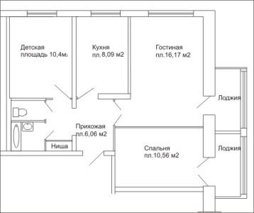 план трехкомнатной квартиры с лоджиями