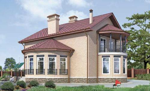 загородный дом с эркером и балконом