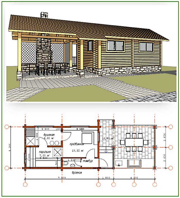 План бани и террасы под одной крышей