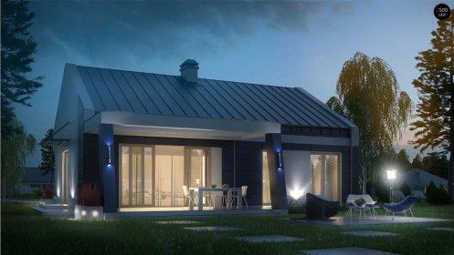 небольшой, одноэтажный, бюджетный в строительстве дом с интересной террасой