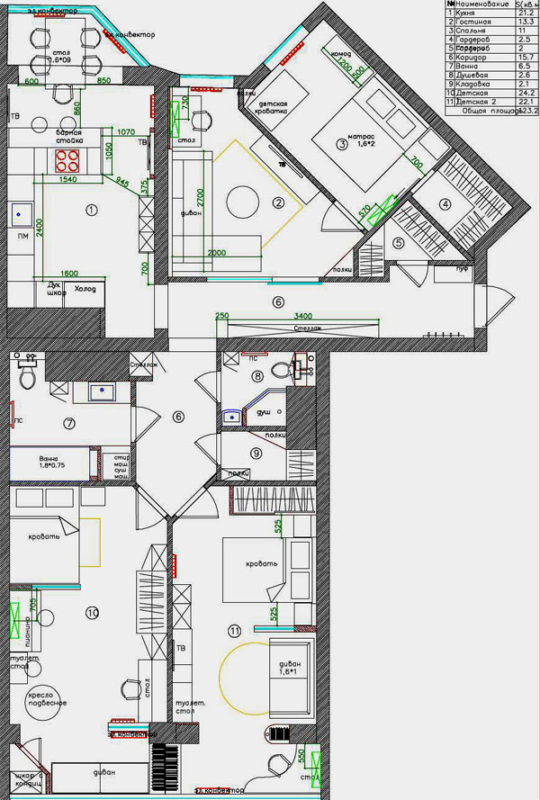план квартиры на 4 комнаты