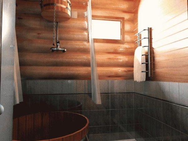 деревяная купель в бане