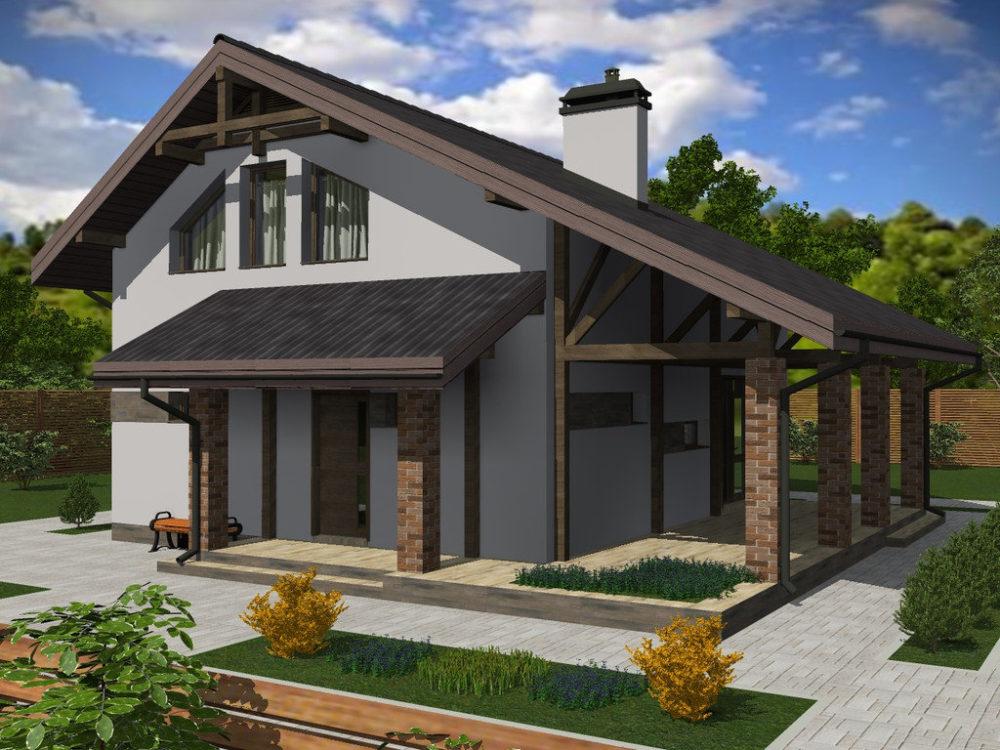 младший, проекты домов с мансардой и террасой фото всего