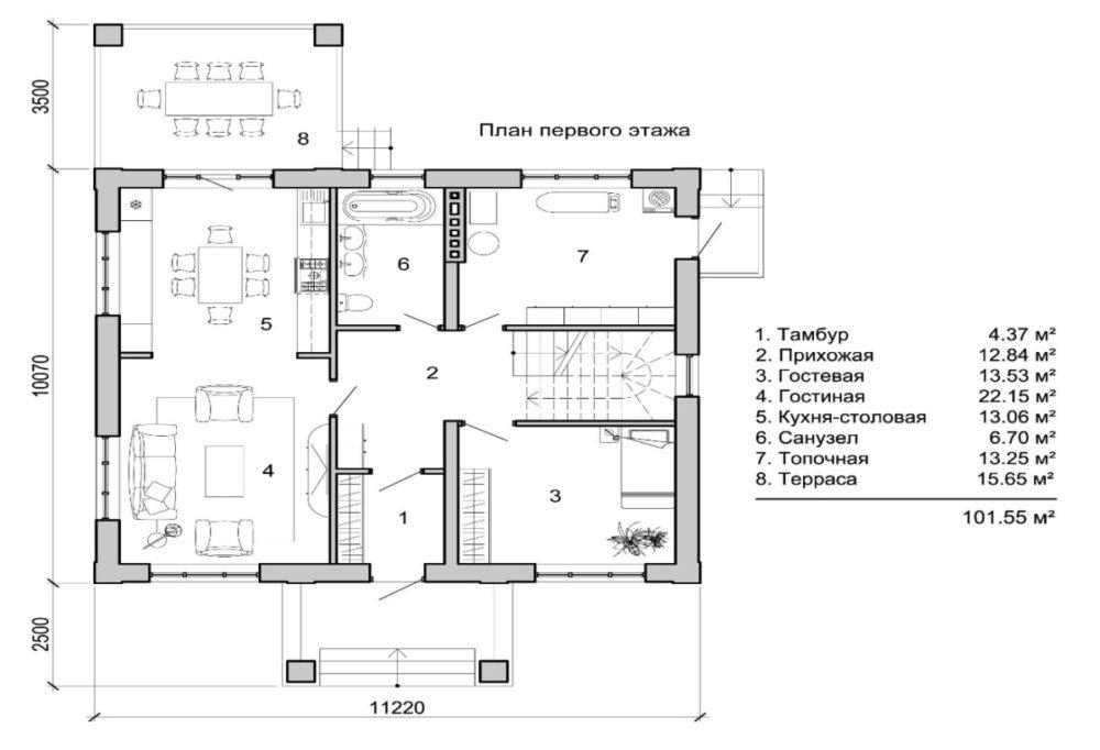 Помещения первого этажа одноэтажного коттеджа