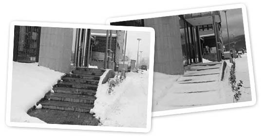 очищение ступенек от льда и снега