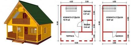 проект бани-дома 6х6