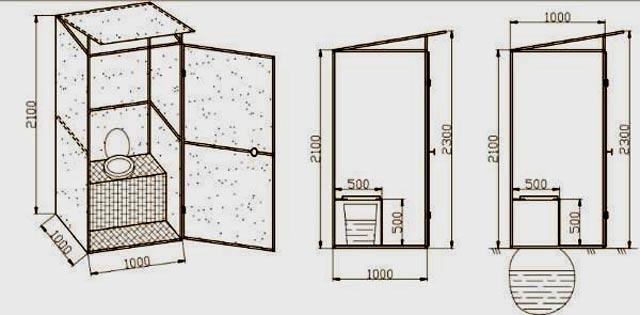 Как построить своими руками туалет чертеж с размерами