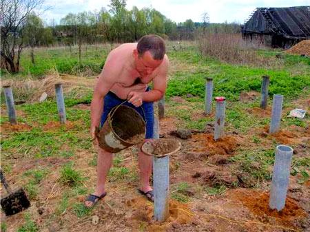 заливка бетоном асбестовых труб