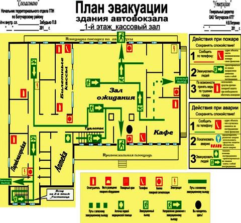 план эвакуации автовокзала