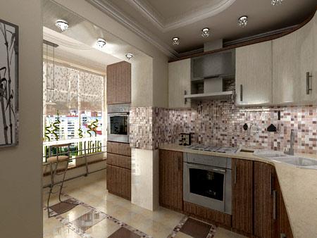 совмещенный балкон с кухней