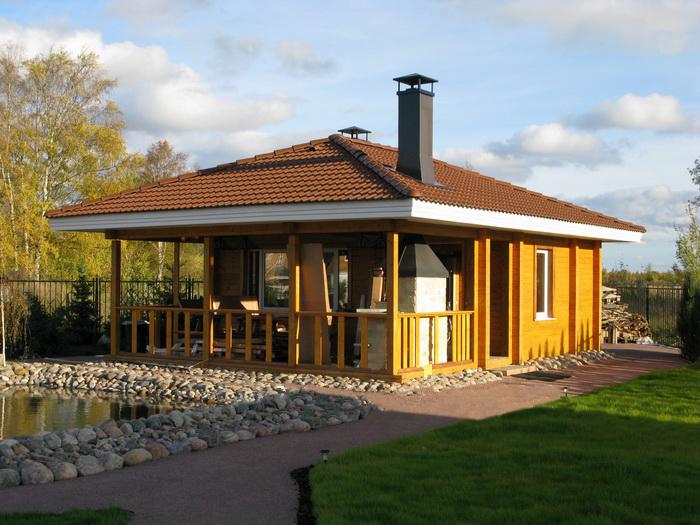 Баня, барбекю и терраса под одной крышей