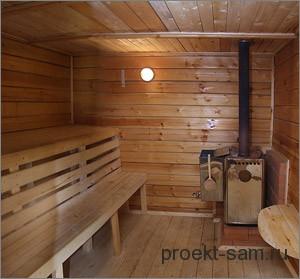 обустройство деревянной бани внутри
