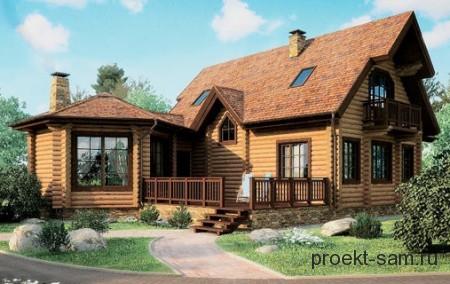 проект бревенчатого дома с открытой террасой