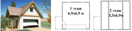 чертеж и пример простой конструкции дома с гаражом на 2 машины