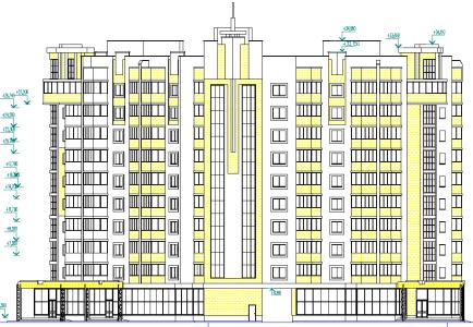 чертеж многоквартирного кирпичного дома
