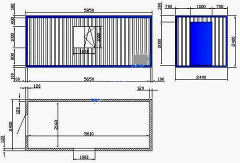 чертеж строительной бытовки