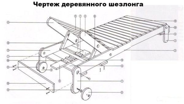 чертеж деревянного шезлонга