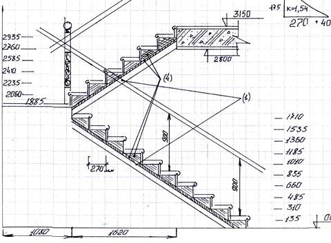 чертеж лестницы своими руками
