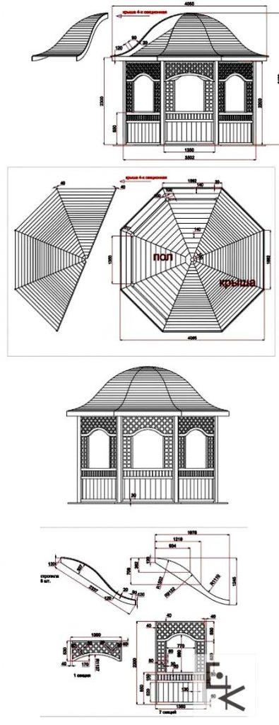 чертеж восьмиугольной беседки