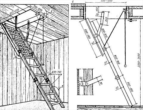 схема лестницы на чердак