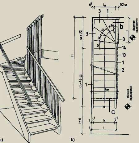 чертеж забежная лестница