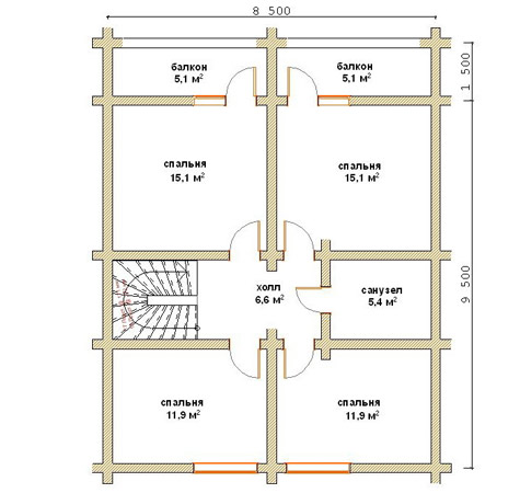 чертеж второго этажа деревянного дома