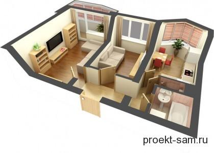 проект дизайна 2-х комнатной хрущевки