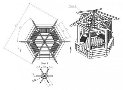 чертеж шестигранной беседки