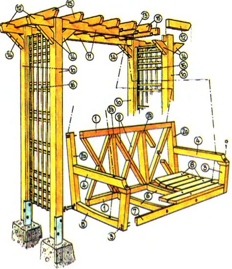 чертеж деревянных садовых качелей