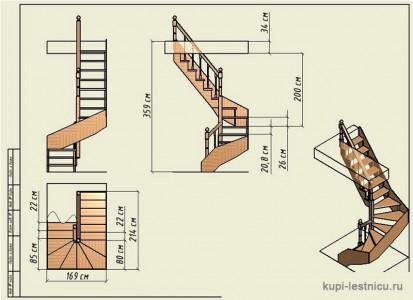 чертеж деревянной винтовой лестницы