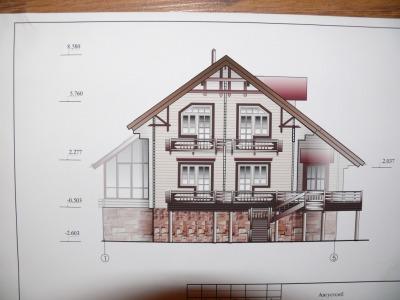 чертеж большого двухэтажного дома с цокольным этажом