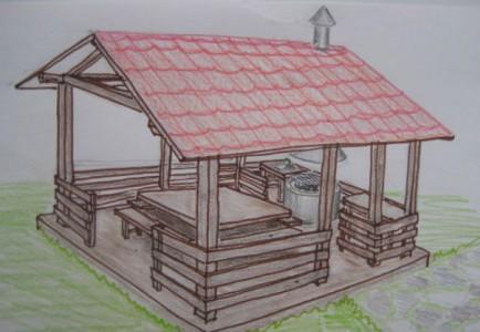 чертеж деревянной летней кухни