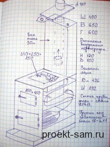 чертеж металлической печи для бани