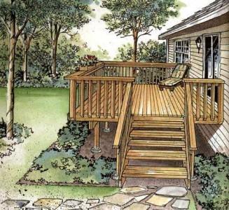 чертеж прямоугольной террасы